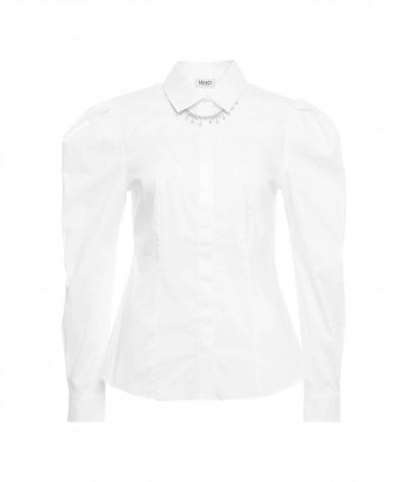 Liu Jo Jeans Bluse mit Schmucksteinkette Weiß