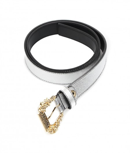 Versace Jeans Couture Belt with baroque buckle silver