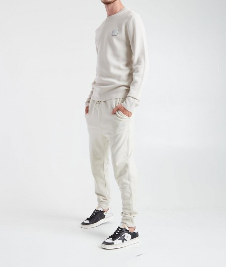 C.P. Company Pullover mit abnehmbaren Logopatch Beige