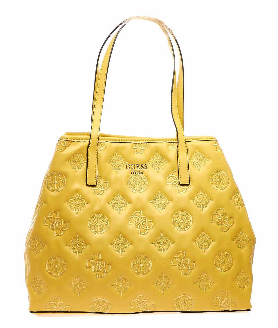 Borsa a spalla con ricamo logo giallo