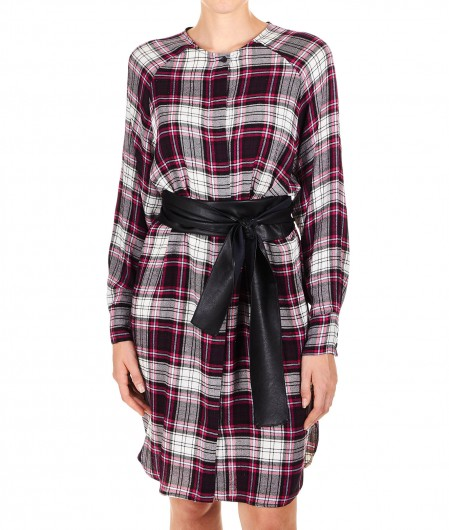 "8PM Checked shirt dress in flanel ""Goldie Hawn"" pink"