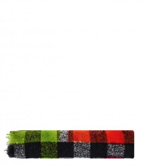 Destin Checked scarf in wool blend black