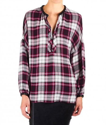 "8PM Karo-Bluse aus Flanell ""Starsky"" Pink"