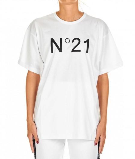 N°21 T-shirt oversized con logo bianco