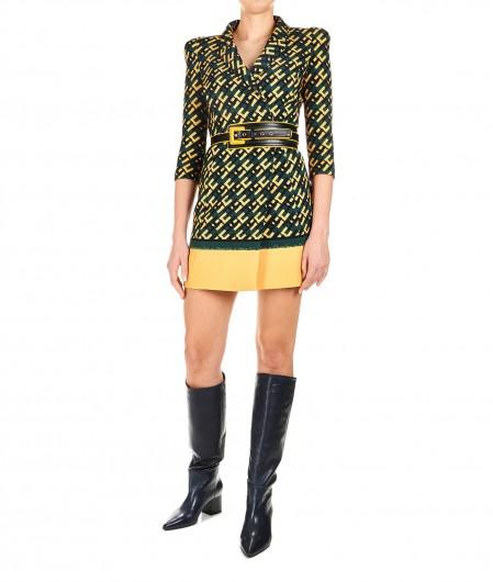 Elisabetta Franchi Blazer-Kleid mit Allover-Logodruck Dunkelgrün