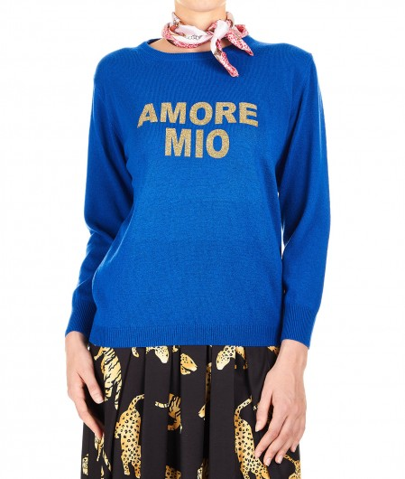 5 Progress Sweater in wool blend Amore Mio royal blue