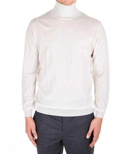 Paolo Pecora  Turtleneck sweater in wool light gray