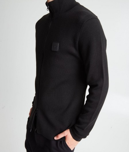 C.P. Company Cardigan with removable logo patch black