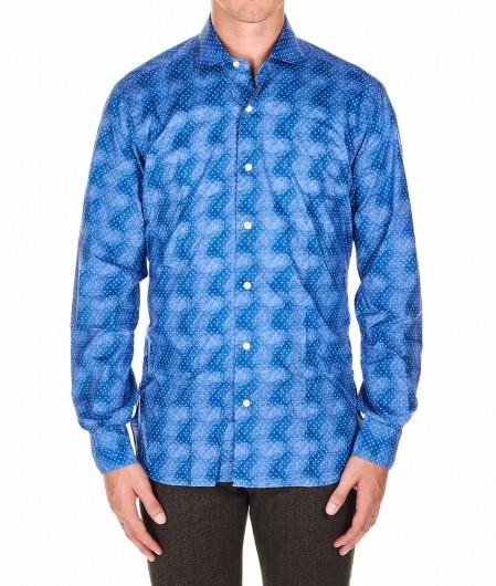 Barba Shirt with microprint blue