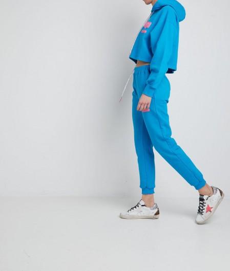 Chiara Ferragni Cropped hoodie with logopatch blue
