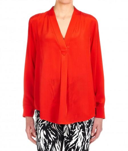 Diane von Furstenberg Silk blouse with V-neck red