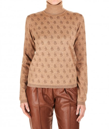 Ballantyne Turtleneck sweater with allover logo print light brown
