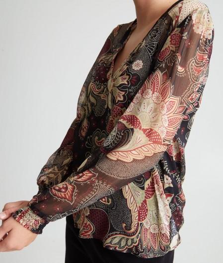 Twin Set Floral blouse black