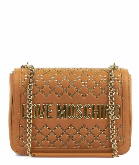 Love Moschino Faux leather bag with studs brown