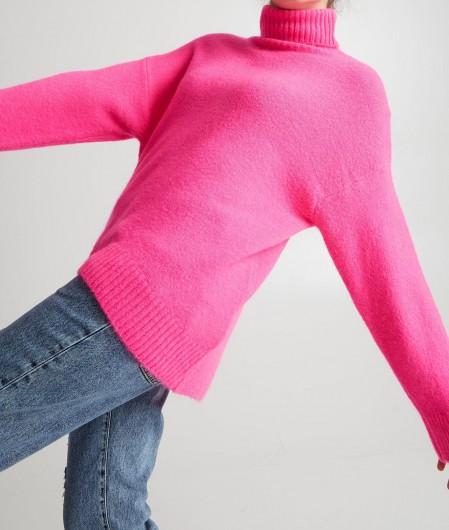 Kaos Knitted turtleneck sweater pink