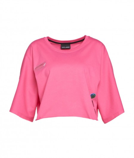 Disclaimer Cropped T-Shirt mit Logodruck Pink
