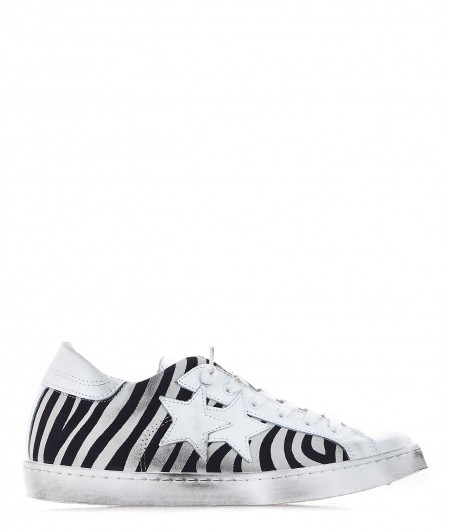2 Star Leather sneaker with animal print white