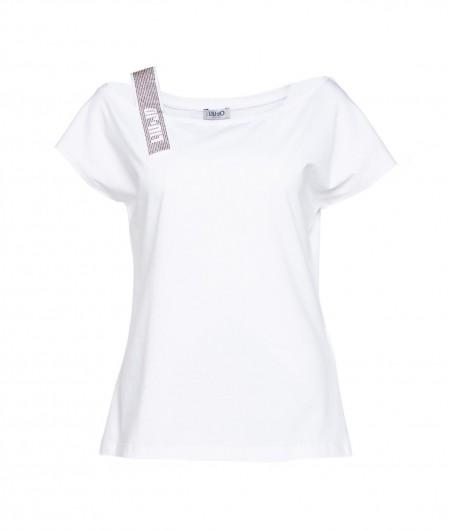 Liu Jo T-Shirt mit Strass-Träger Weiß
