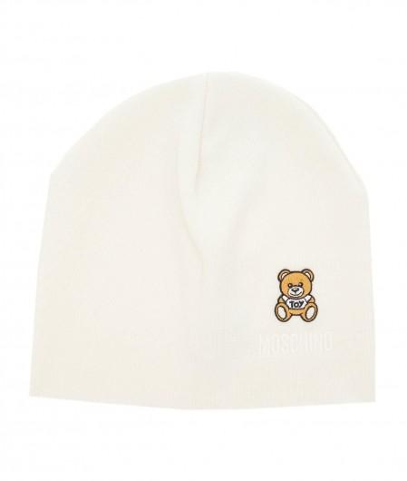 Moschino Mütze mit Logostickerei Weiß