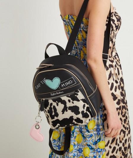 "Nira Rubens Hand painted backpack ""Black Cow"" black"