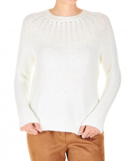 Kaos Sweater morbido con strass bianco