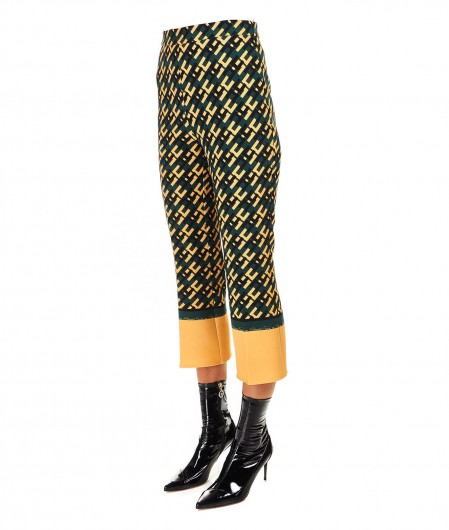 Elisabetta Franchi Cropped trousers with allover logo print green