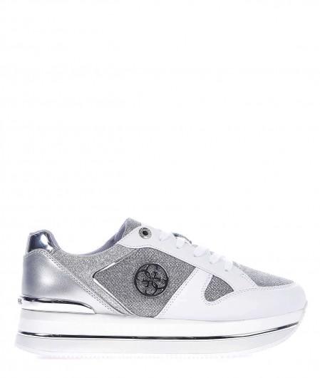 Guess Sneaker platform con finitura in glitter argento