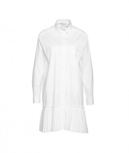 """RED Valentino  Popeline dress with plissé flounce """"Oes"""" white"""