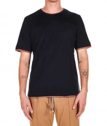 Eleventy T-shirt in layering effect navy