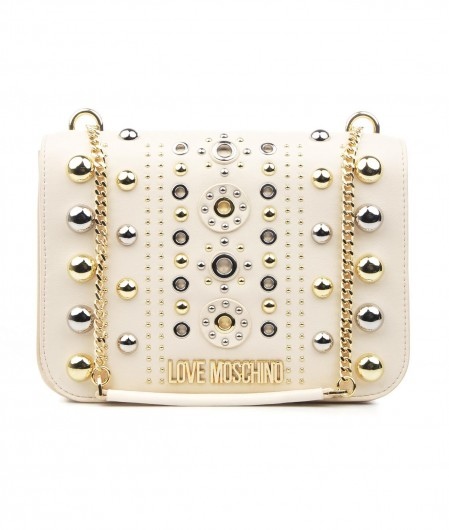 Love Moschino Shoulder bag with rivet applications ivory