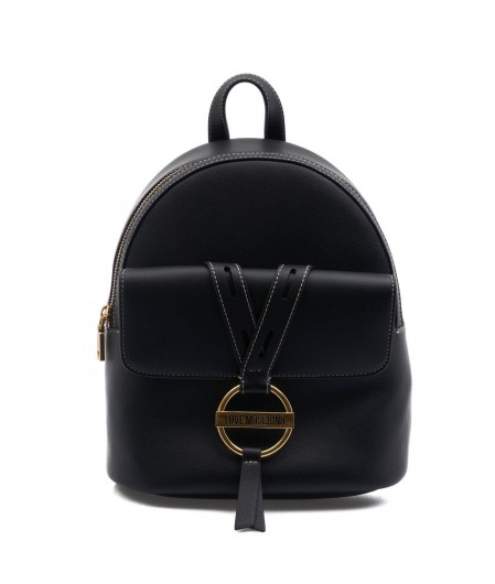 Love Moschino Backpack with logo patch black