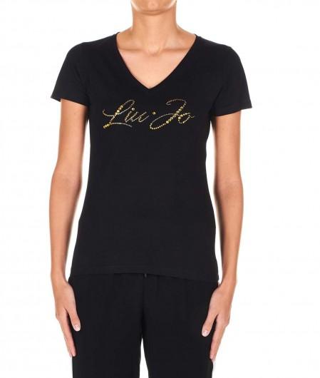 Liu Jo T-shirt with strass logo black