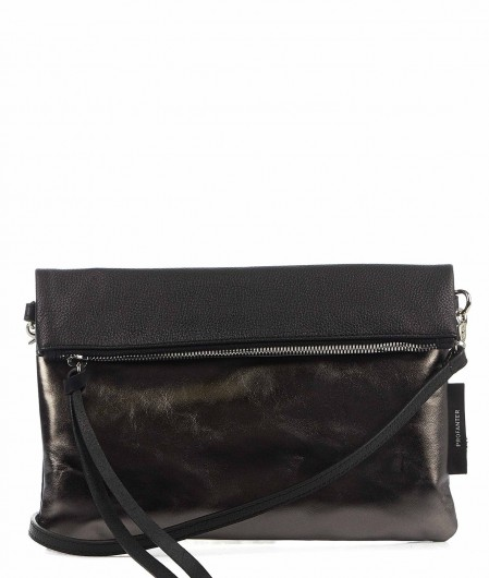 "Profanter Mini Bag ""Mel"" aus Laminat-Leder silber"