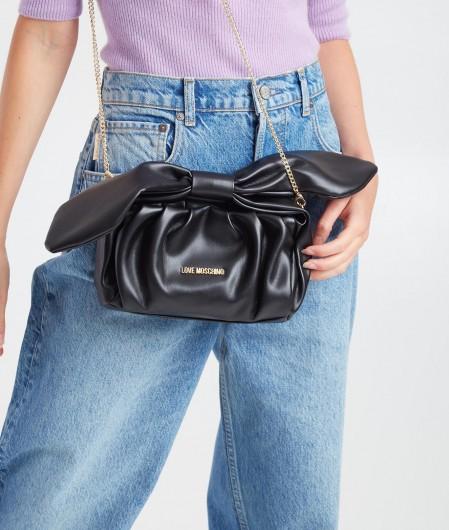 Love Moschino Mini bag with bow appliqué black