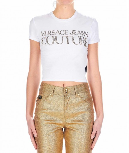 Cropped T shirt with glitter logo