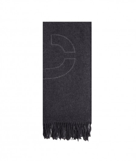 Closed Scarf with logo pattern black