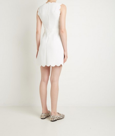 RED Valentino  Tech dress with scallop detail white