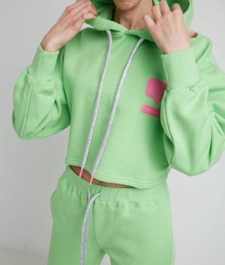 Chiara Ferragni Cropped hoodie with logopatch green