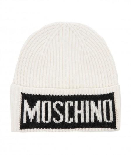 Moschino Strickmütze mit Logoschriftzug Weiß