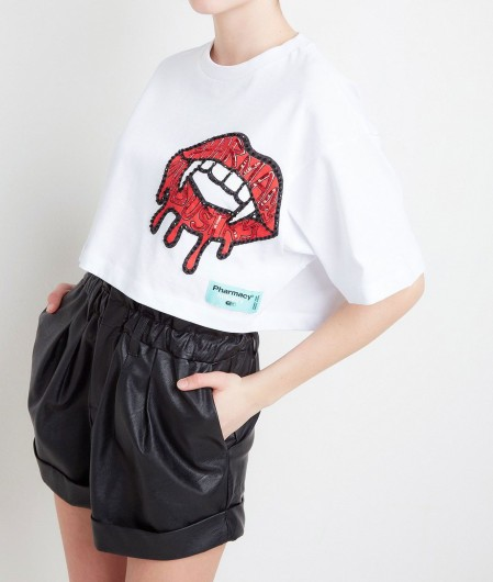 Pharmacy Industry Cropped T-Shirt mit Paillettenapplikation Weiß