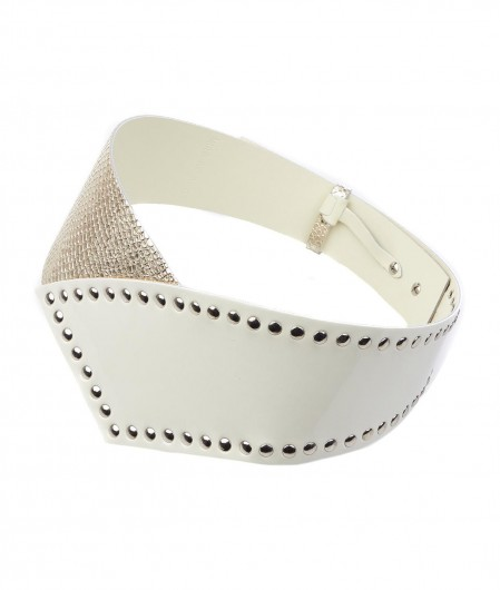 Aniye By Leather belt with stud details white