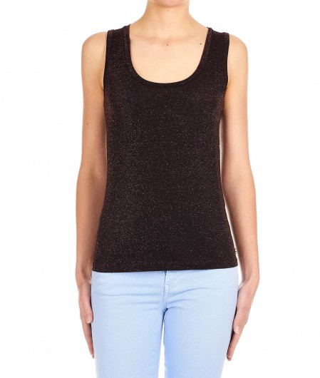 "Otto d'ame Tank top in Lurex ""Ile"" bronzo"