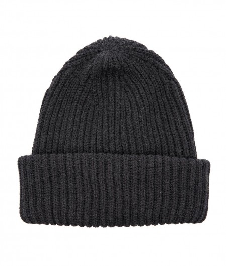 Paolo Pecora  Knitted beanie with logo label dark gray