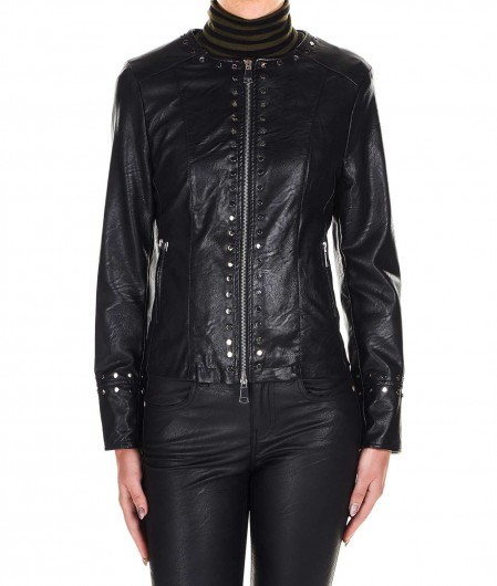 Kaos Faux leather jacket with stud details black