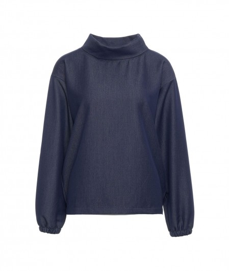 Icon Blouse with gathering blue