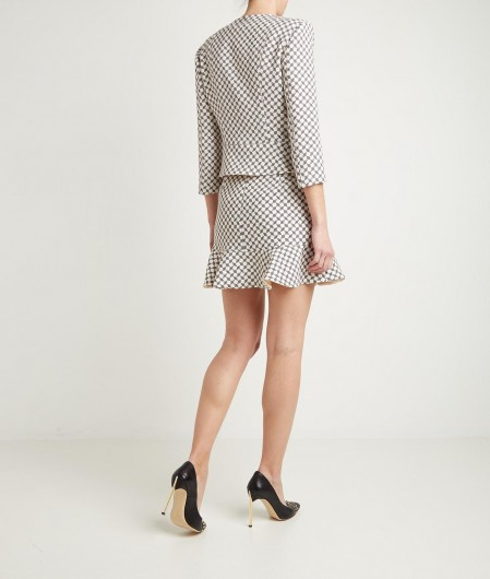 Elisabetta Franchi Mini skirt with allover print creme