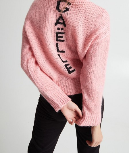 Gaëlle Paris Knit sweater with logo pattern pink