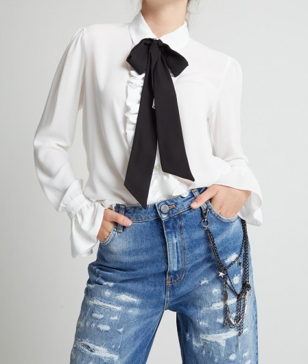 Gaëlle Paris Blouse with bow tie detail white