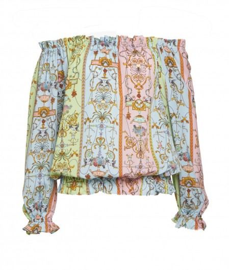 Versace Jeans Couture Bluse mit Tuileries Druck Bunt