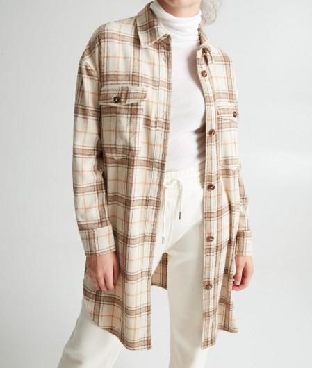 """Silvian Heach Oversized Hemd-Kleid """"Redink"""" Beige"""